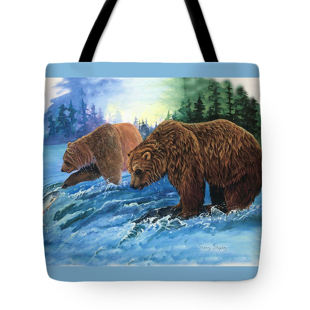 Grizzly Bear Tote Bag featuring the painting Lunch Break by Sherry Shipley