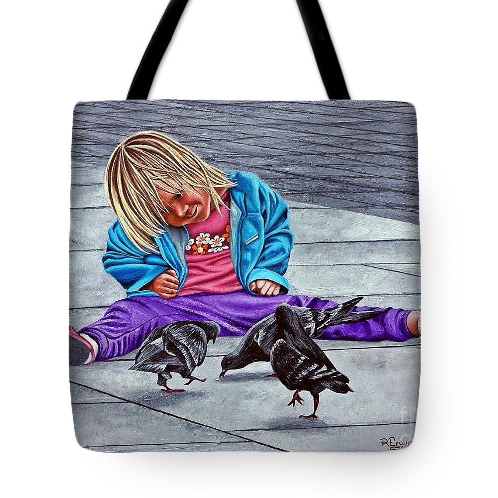 Child Tote Bag featuring the painting Lunch Is On Me by Rezzan Erguvan-Onal