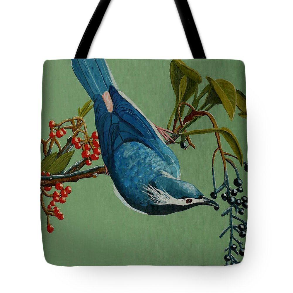 Bird Tote Bag featuring the painting Lunch Time For Blue Bird by Anthony Dunphy