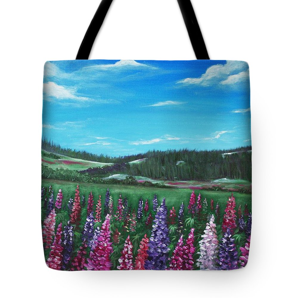 Hills Tote Bag featuring the painting Lupine Hills by Anastasiya Malakhova