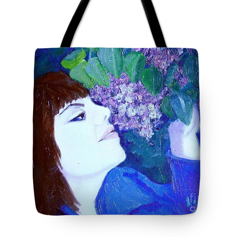 Lilacs Tote Bag featuring the painting Lush Lilacs by Laurie Morgan