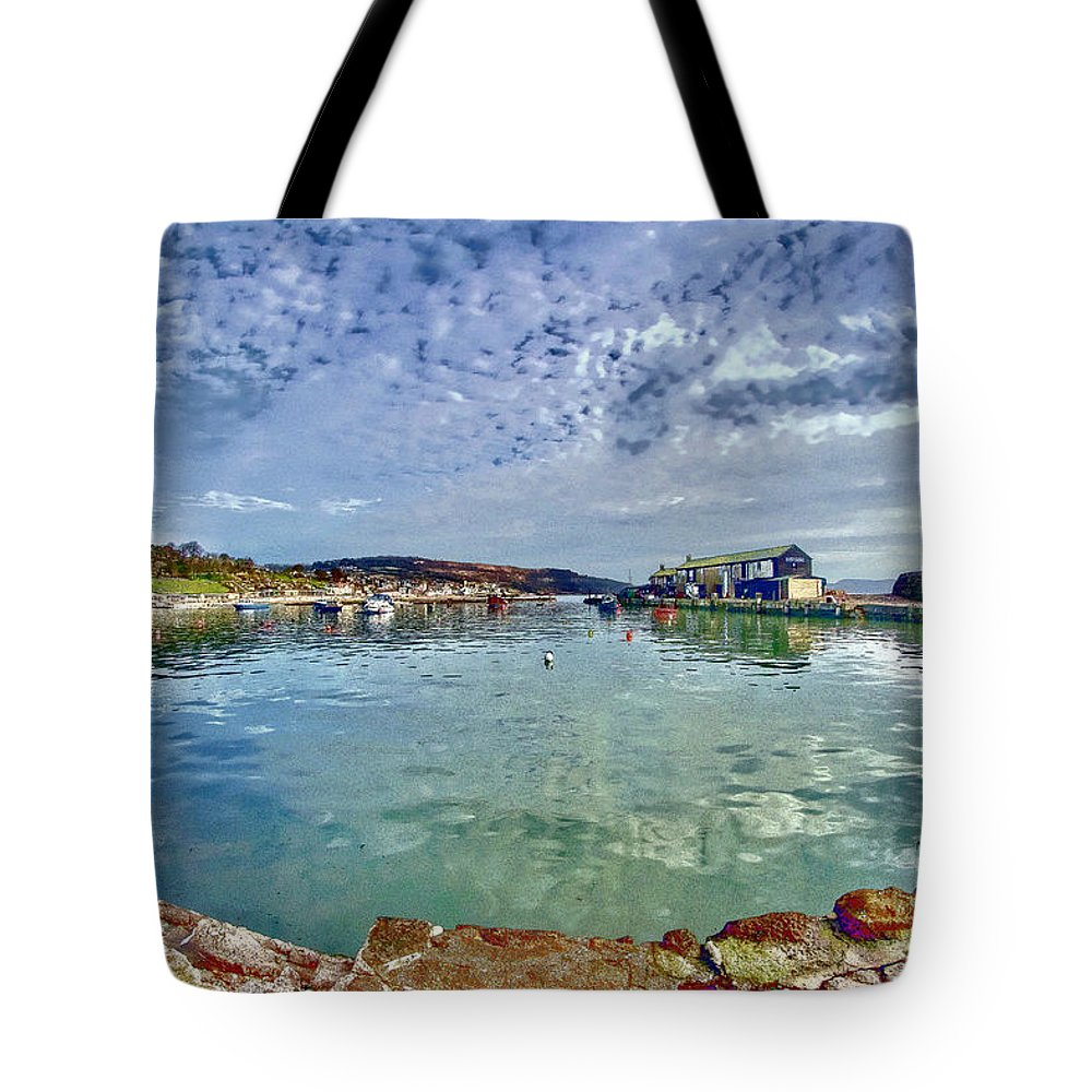 Alto-cumulus Tote Bag featuring the photograph Lyme Regis Harbour -- Painterly by Susie Peek