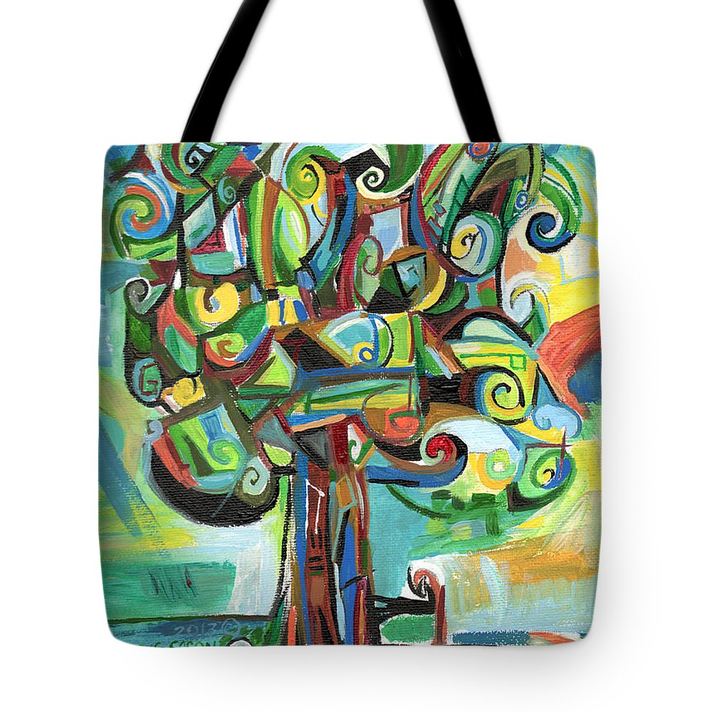 Tree Tote Bag featuring the painting Lyrical Tree by Genevieve Esson