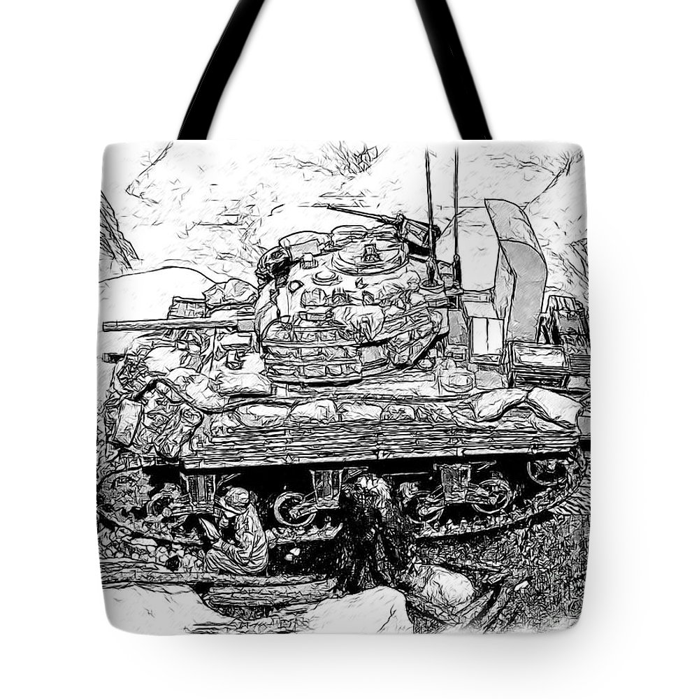 M-4 Sherman Tote Bag featuring the photograph M 4 Sherman Break Out From Normandy by Tommy Anderson