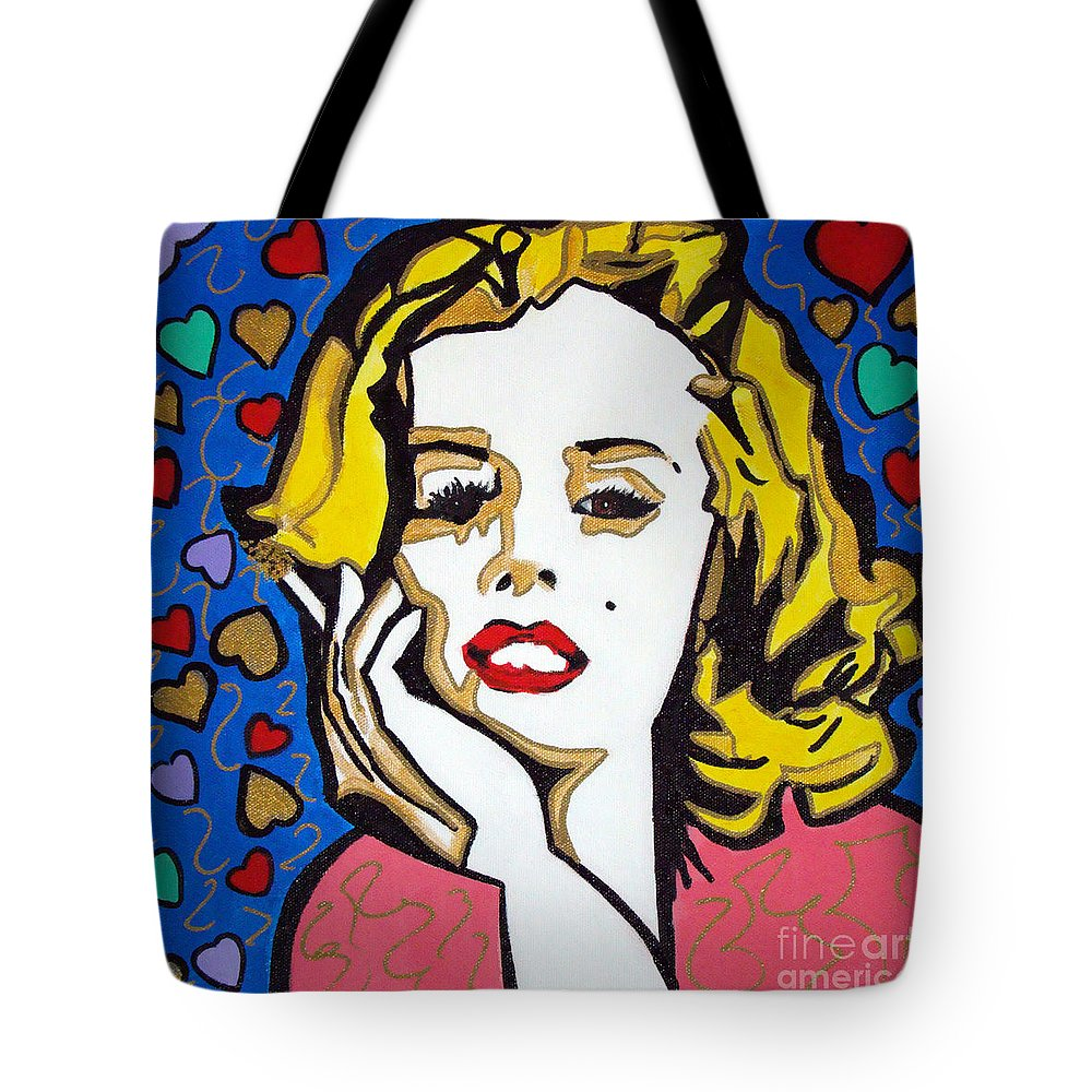 Pop-art Tote Bag featuring the painting M M by Silvana Abel