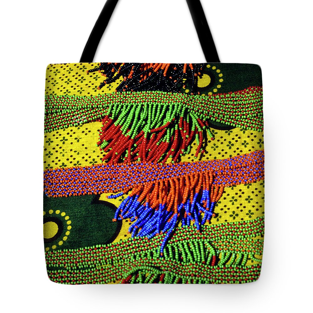 Africa Tote Bag featuring the photograph Maasai Beadwork by Michele Burgess