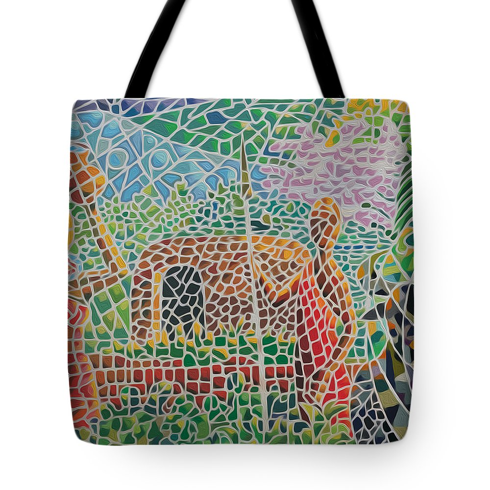 Acrylics Tote Bag featuring the painting Maasai Couple And Cow by Anthony Mwangi