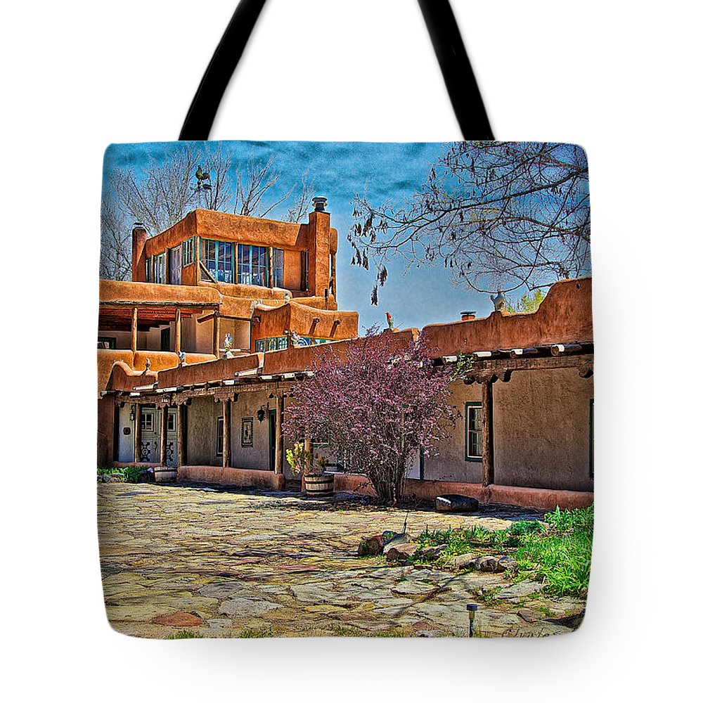 Original Tote Bag featuring the photograph Mabel Dodge Luhan's Courtyard by Charles Muhle