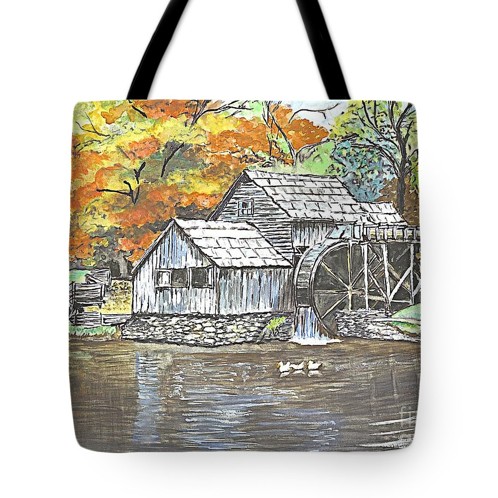 Painting Framed Prints Tote Bag featuring the painting Mabry Grist Mill In Virginia Usa by Carol Wisniewski