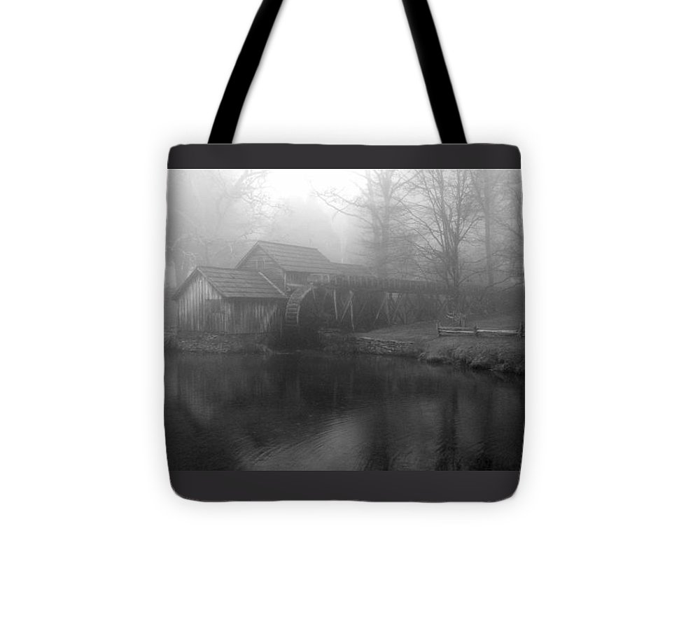 Mabry Mill Tote Bag featuring the photograph Mabry Mill In Fog Bw by Diannah Lynch