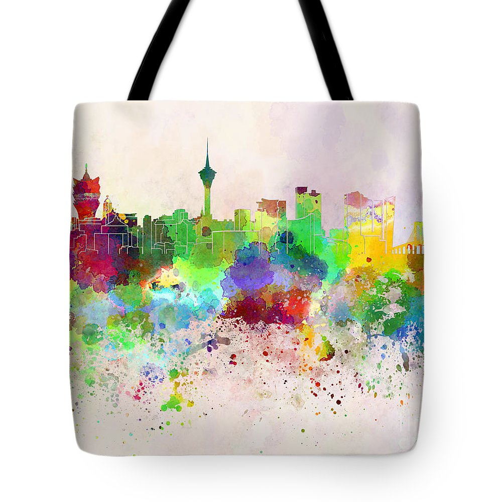 Macau Skyline Tote Bag featuring the digital art Macau Skyline In Watercolor Background by Pablo Romero