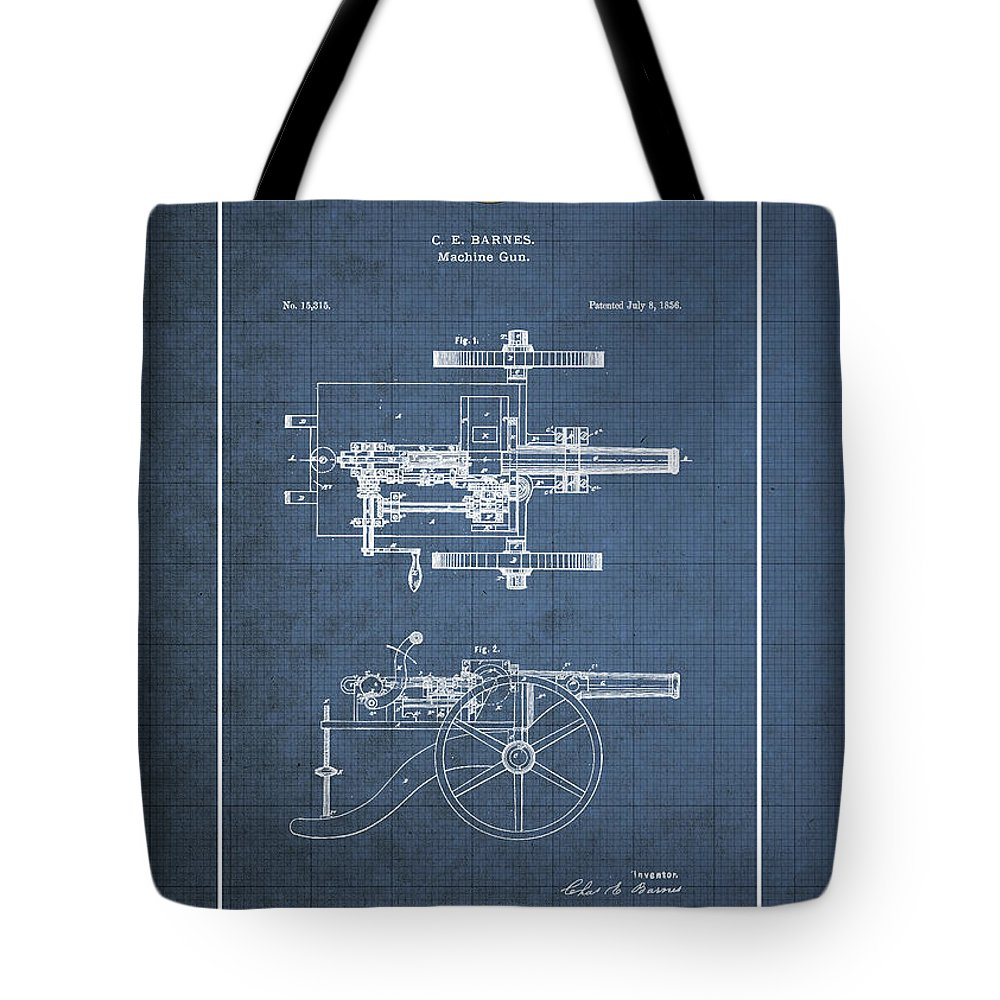 C7 Vintage Patents Weapons And Firearms Tote Bag featuring the digital art Machine Gun - Automatic Cannon By C.e. Barnes - Vintage Patent Blueprint by Serge Averbukh