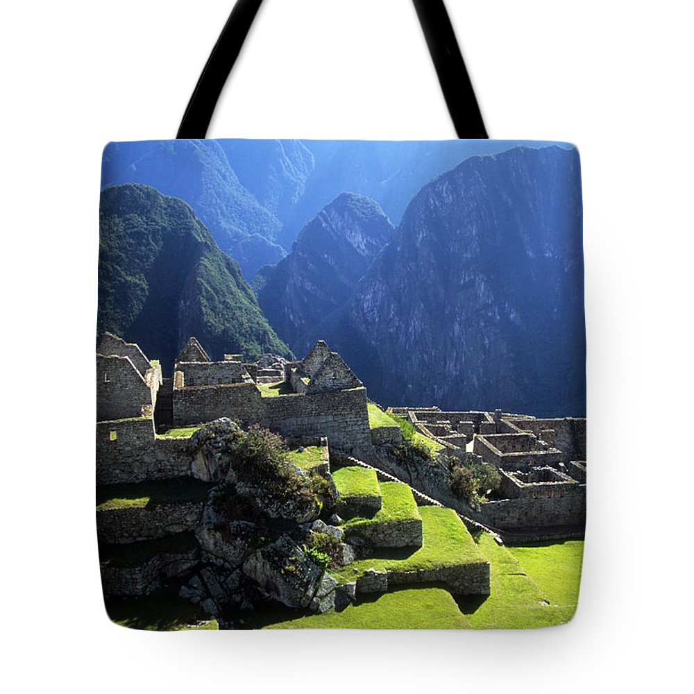 Peru Tote Bag featuring the photograph Machu Picchu And Urubamba Canyon by James Brunker