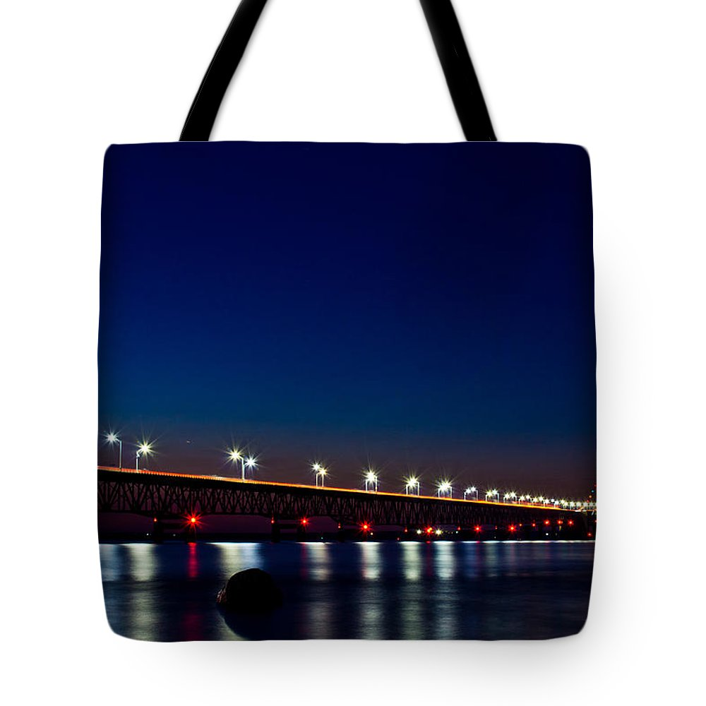 Michigan Tote Bag featuring the photograph Mackinac Bridge Just After Sunset by John McGraw
