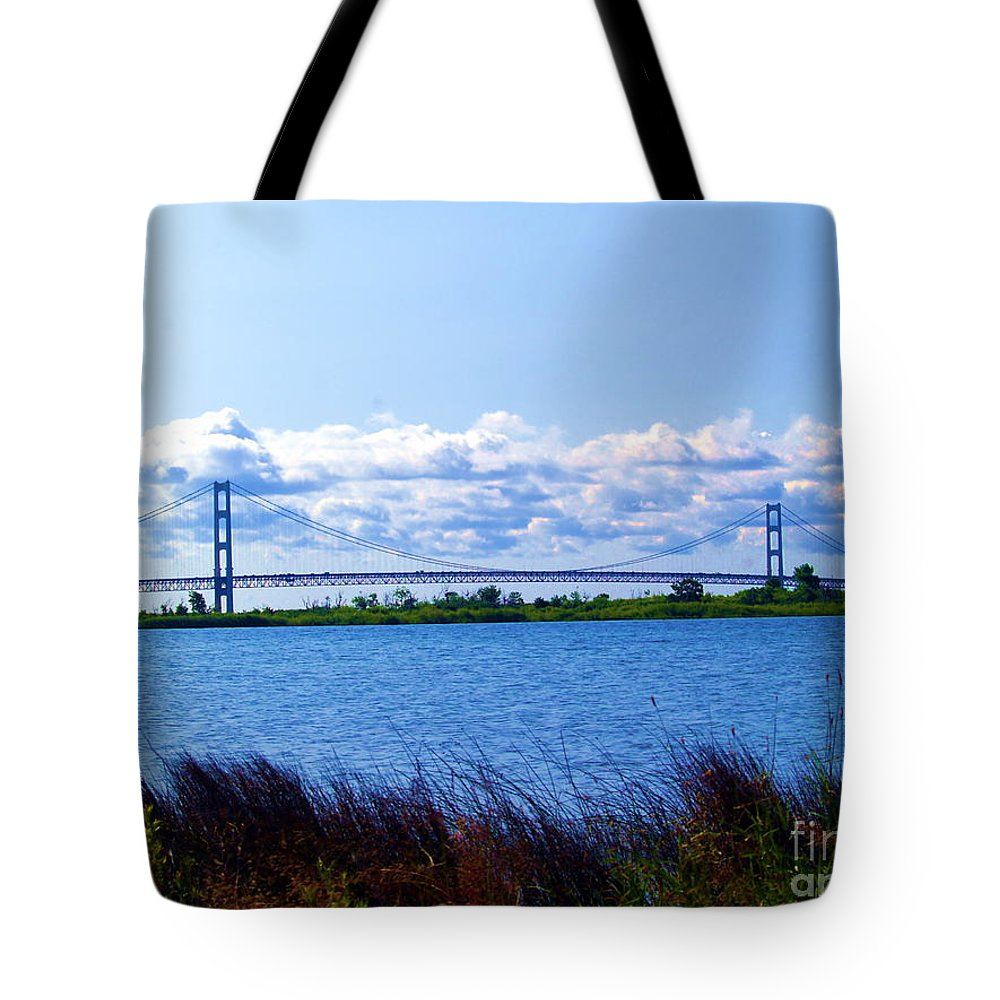 Lake Tote Bag featuring the photograph Mackinac Bridge Landscaped by Melissa McDole