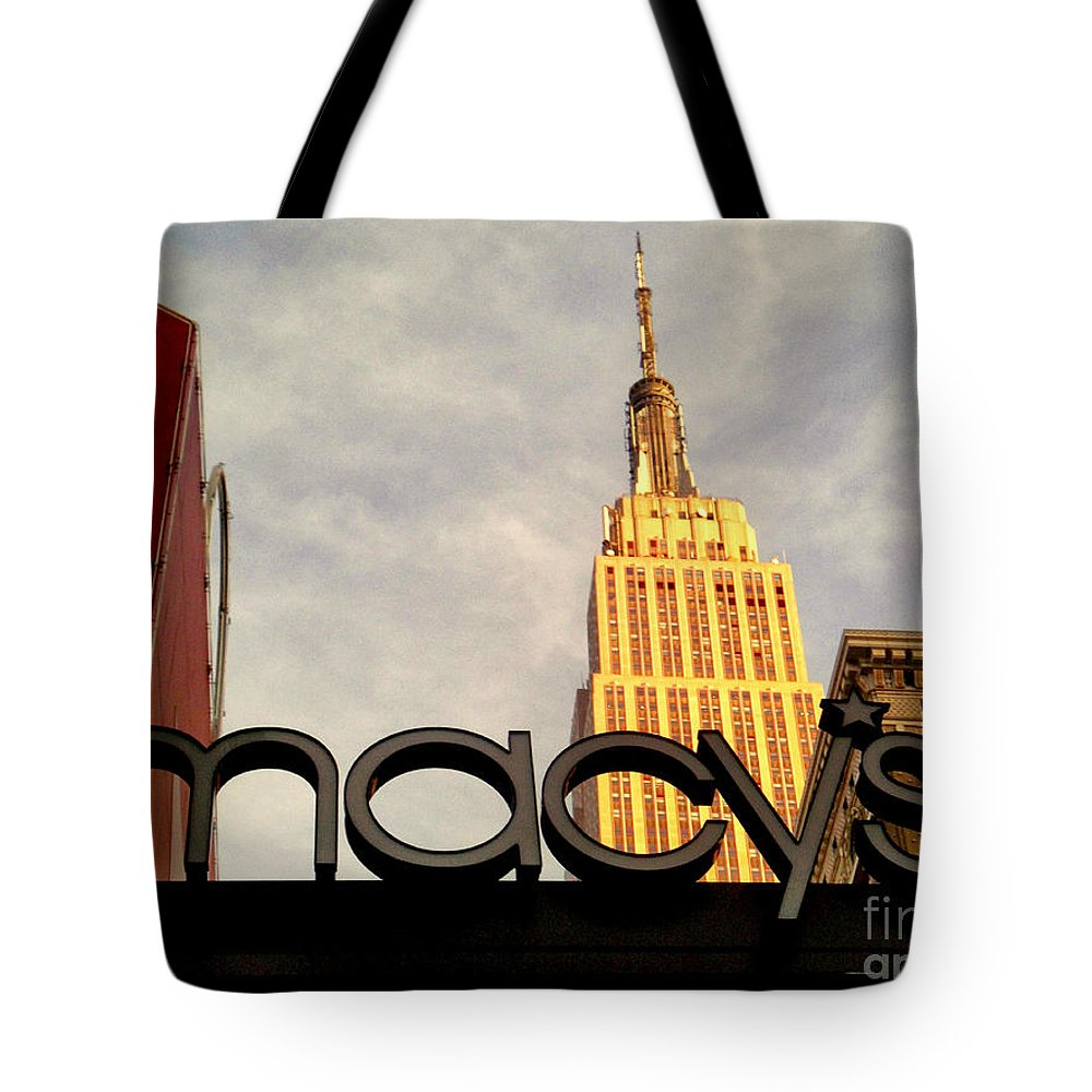 Macy's Tote Bag featuring the photograph Macy's With Empire State Building - Famous Buildings And Landmarks Of New York City by Miriam Danar