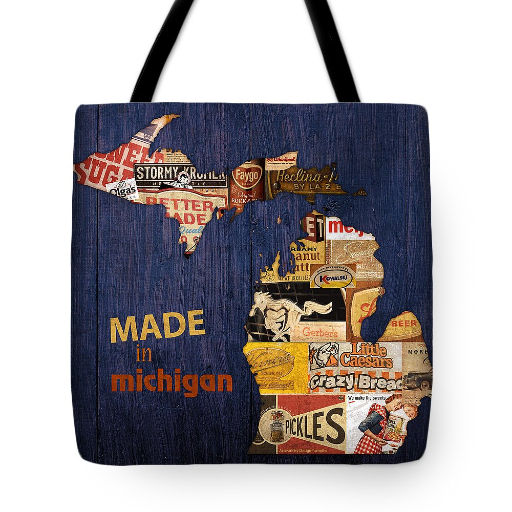 Made In Michigan Products Vintage Map On Wood Kelloggs Better Made Faygo Ford Chevy Gm Little Caesars Strohs Pioneer Sugar Lazy Boy Detroit Lansing Grand Rapids Flint Mustang Meijer Olgas Vernors Gerber Kowalski Sausage Corn Flakes Tote Bag featuring the mixed media Made In Michigan Products Vintage Map On Wood by Design Turnpike