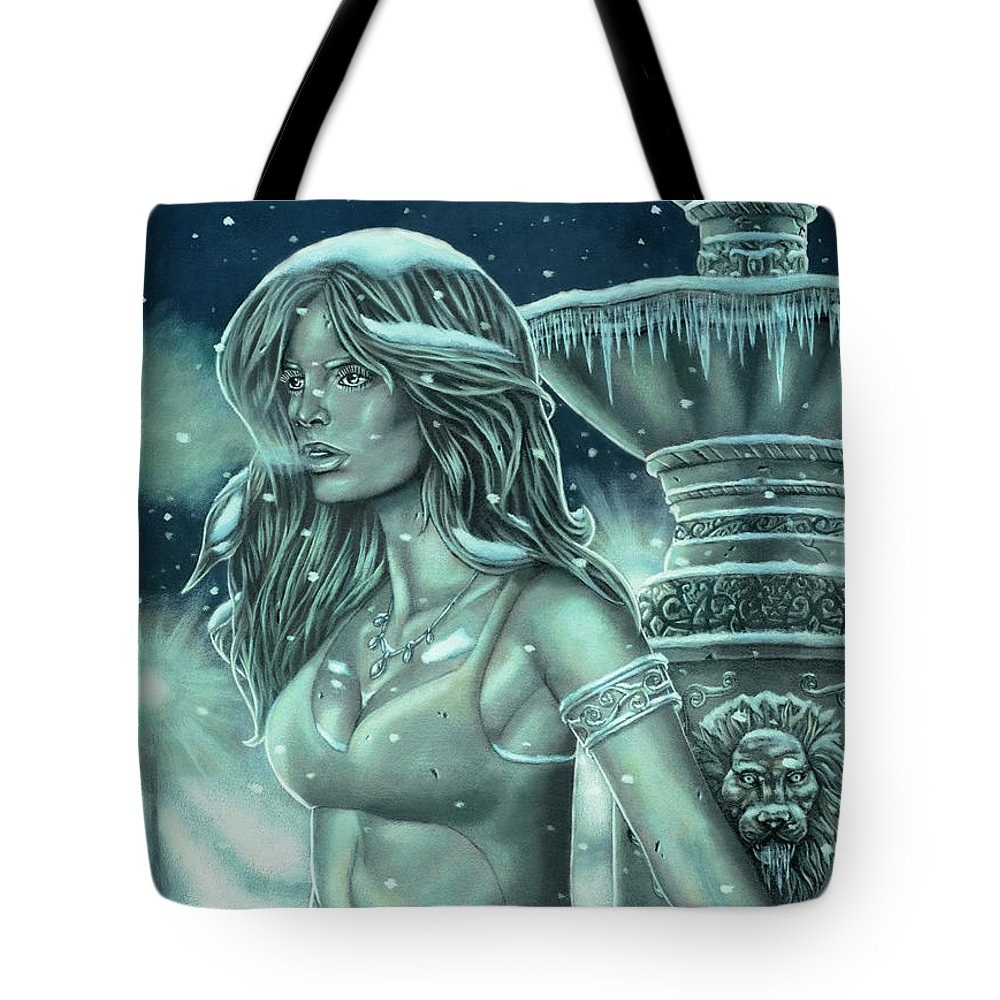 Snow Tote Bag featuring the painting Made Of Stone by Kayla Ascencio
