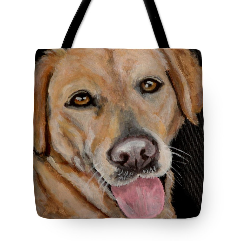 Yellow Labrador Portrait Tote Bag featuring the painting Madeline by Carol Russell