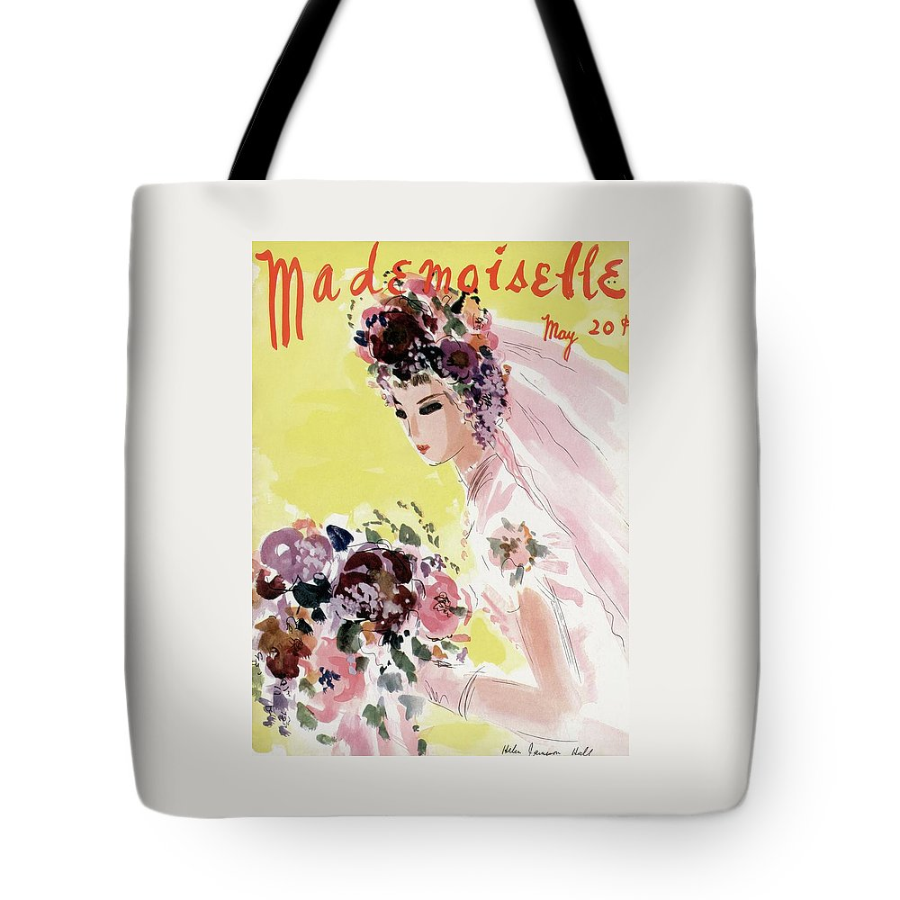 Illustration Tote Bag featuring the photograph Mademoiselle Cover Featuring A Bride by Helen Jameson Hall