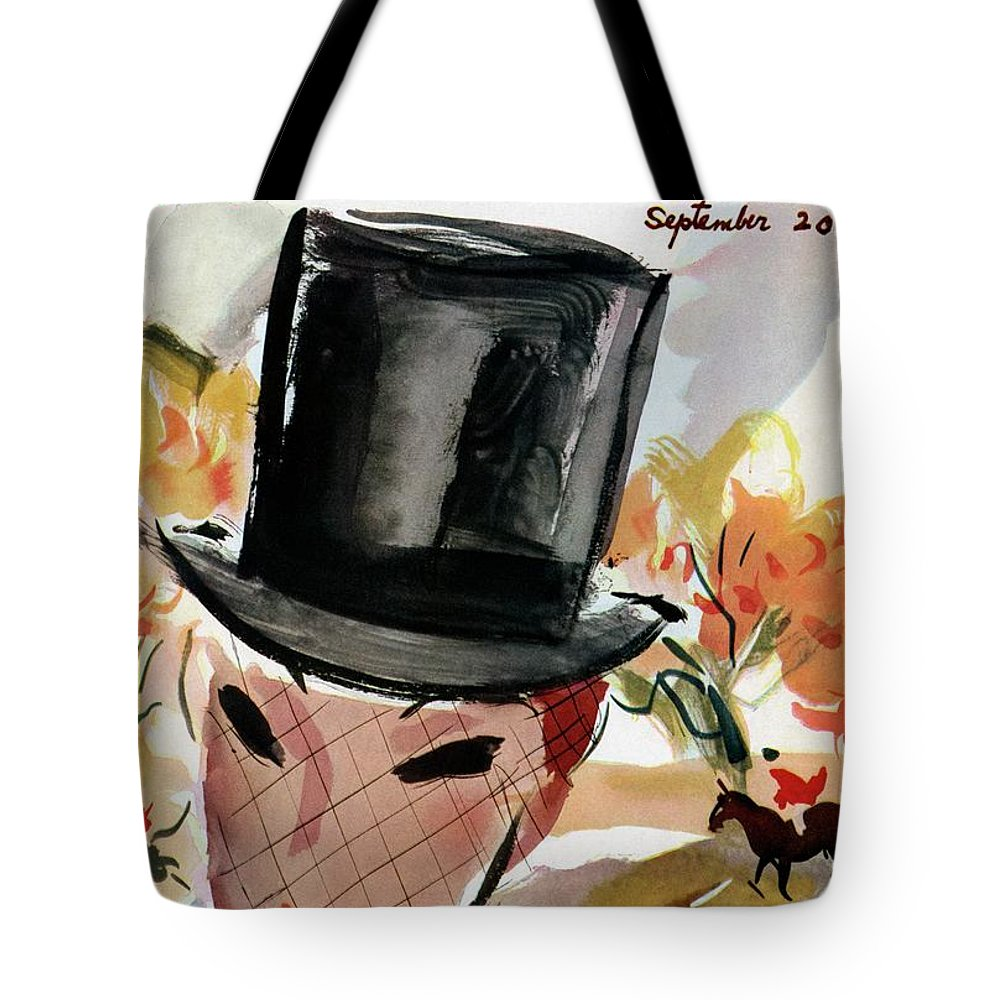 Illustration Tote Bag featuring the photograph Mademoiselle Cover Featuring A Female Equestrian by Helen Jameson Hall