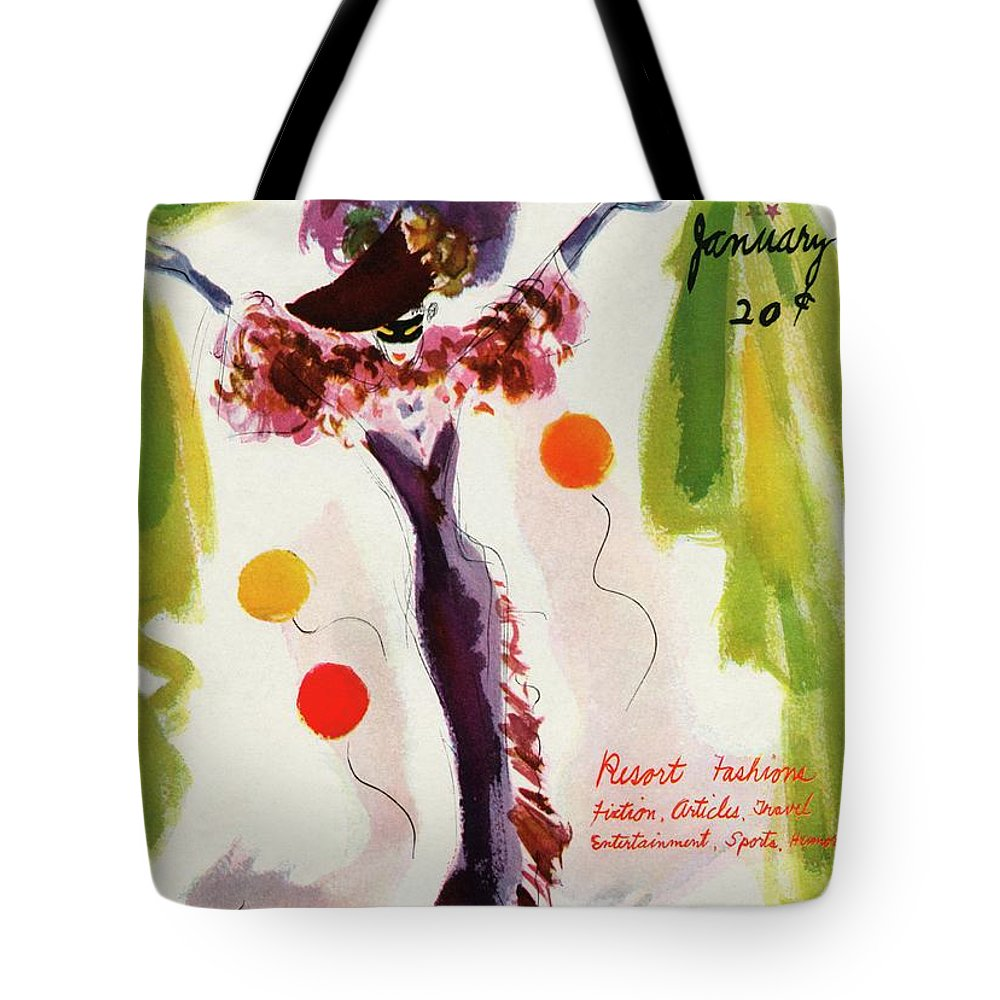 Illustration Tote Bag featuring the photograph Mademoiselle Cover Featuring A Model Wearing by Helen Jameson Hall