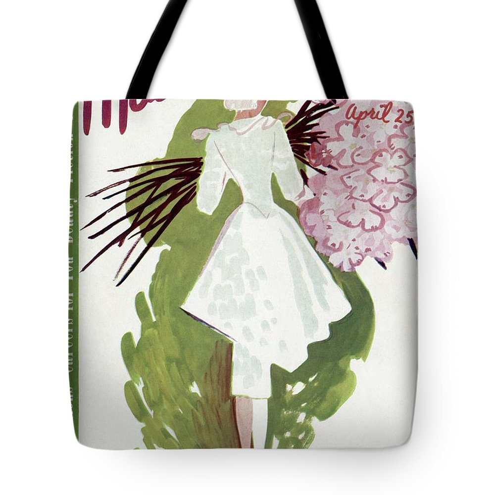 Fashion Tote Bag featuring the photograph Mademoiselle Cover Featuring A Woman Carrying by Elizabeth Dauber