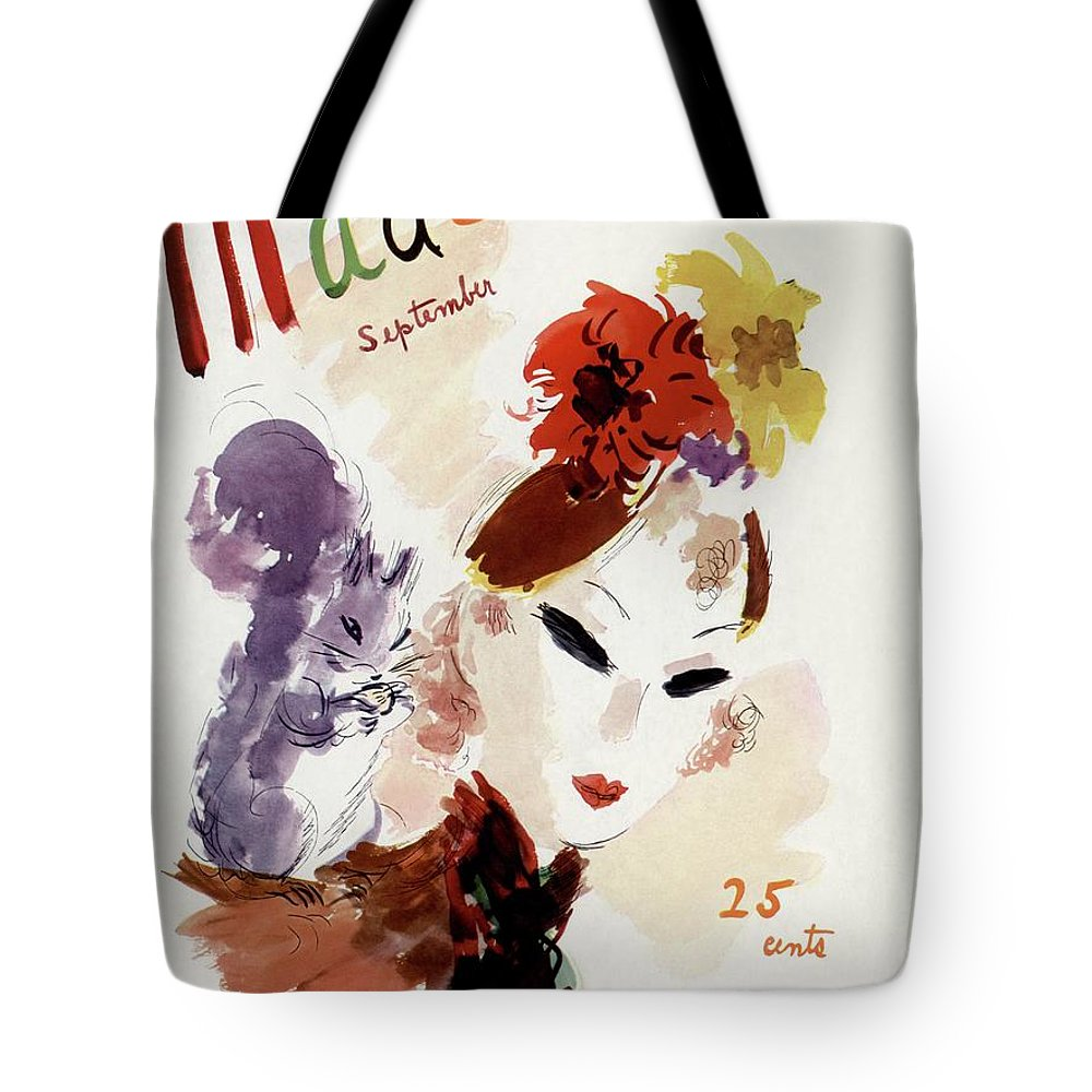 Illustration Tote Bag featuring the photograph Mademoiselle Cover Featuring A Woman by Helen Jameson Hall
