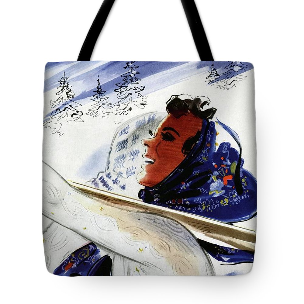 Illustration Tote Bag featuring the photograph Mademoiselle Cover Featuring An Illustration by Jean Coquillot