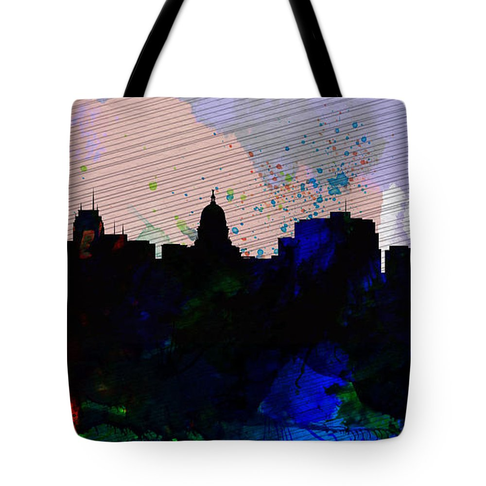Madison Tote Bag featuring the painting Madison City Skyline by Naxart Studio