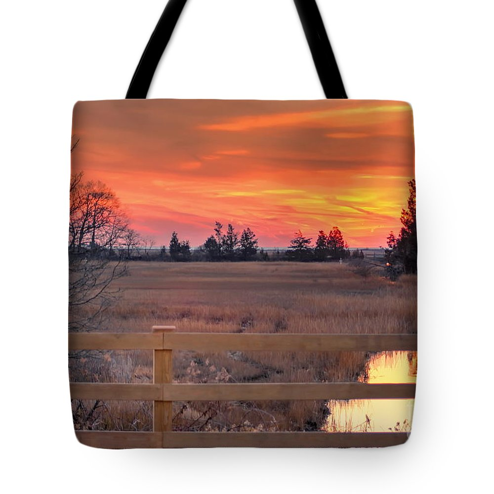 New England Tote Bag featuring the photograph Madison Sunset by Marcel J Goetz Sr