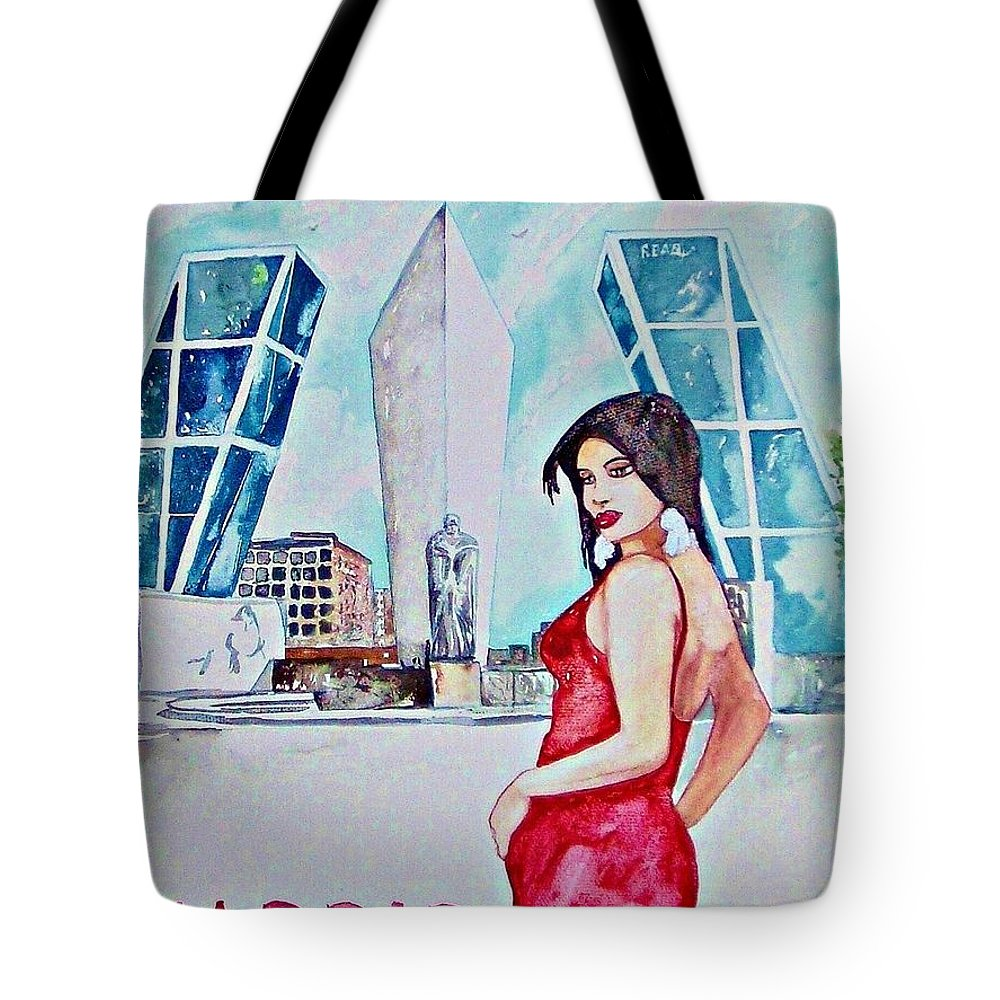 Madrid Spain Woman Travel Skyline Europe Cityscape Tote Bag featuring the painting Madrid 2009 by Ken Higgins