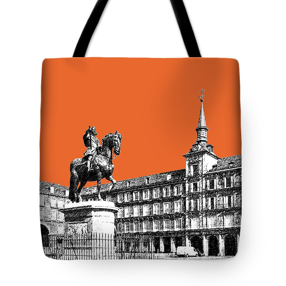 Architecture Tote Bag featuring the digital art Madrid Skyline Plaza Mayor - Coral by DB Artist