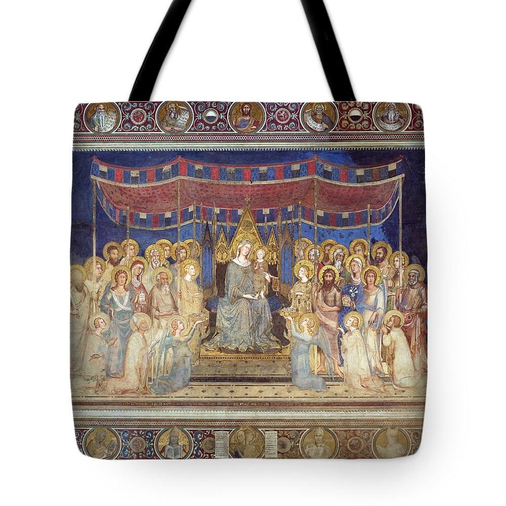 Simone Martini Tote Bag featuring the painting Maesta by Simone Martini