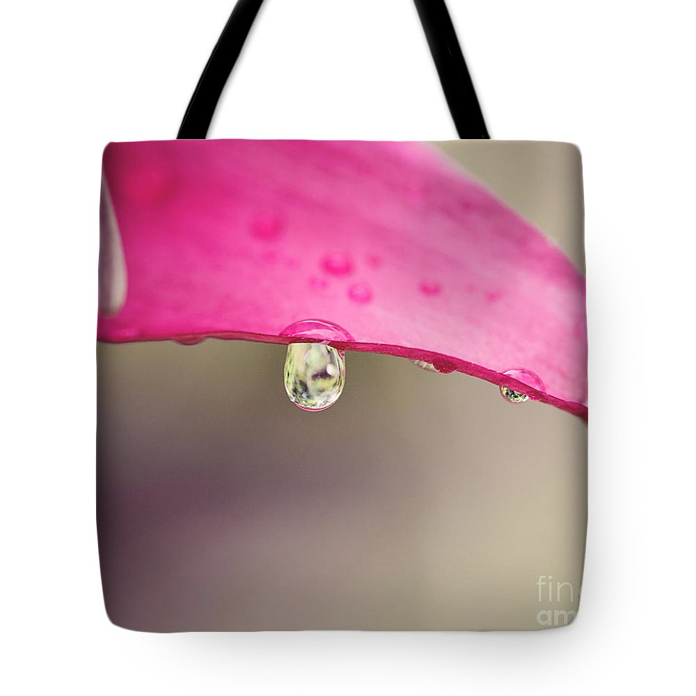 Magenta Tote Bag featuring the photograph Magenta And Raindrop by Erin Johnson