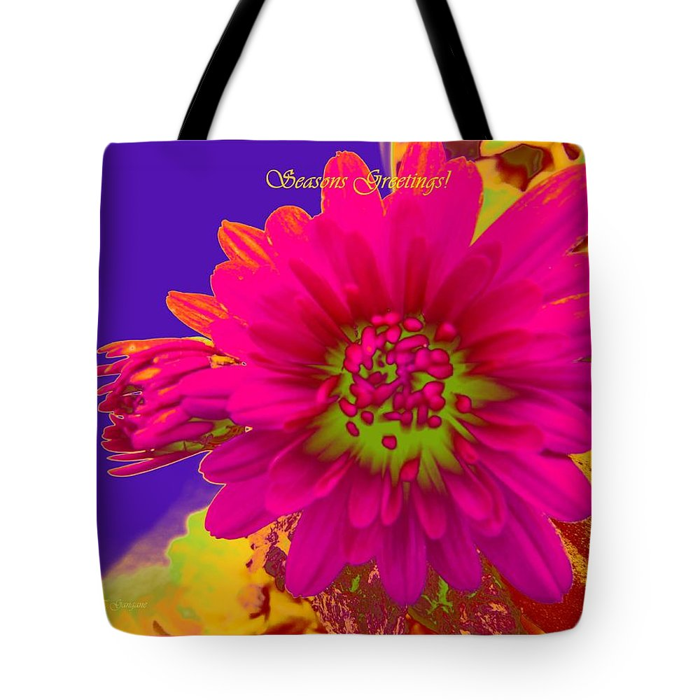 Magenta Greetings Tote Bag featuring the digital art Magenta Greetings by Sonali Gangane