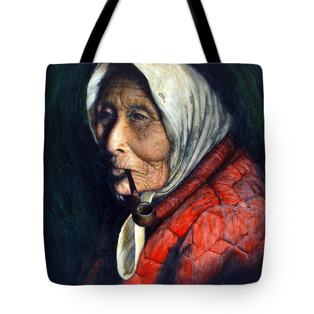 Native Tote Bag featuring the painting Maggie by Joey Nash
