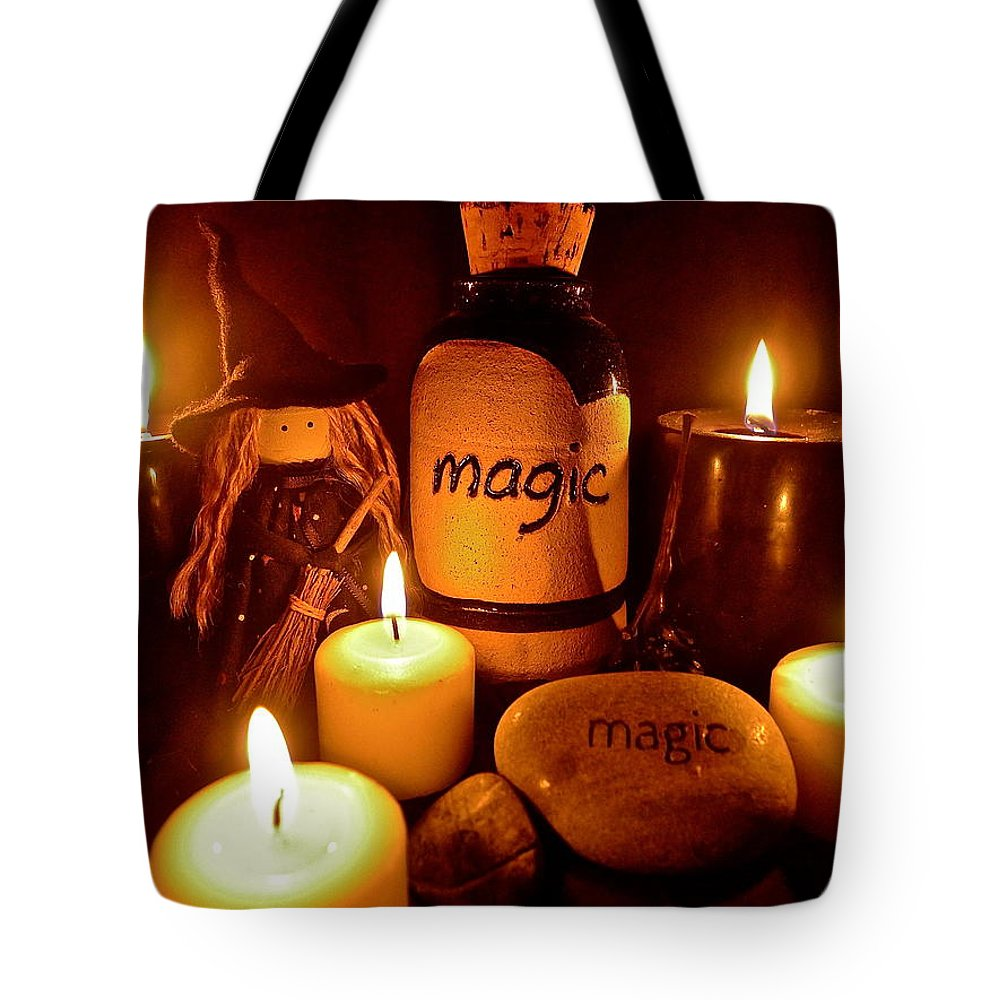 Witch Tote Bag featuring the photograph Magic by Denise Mazzocco