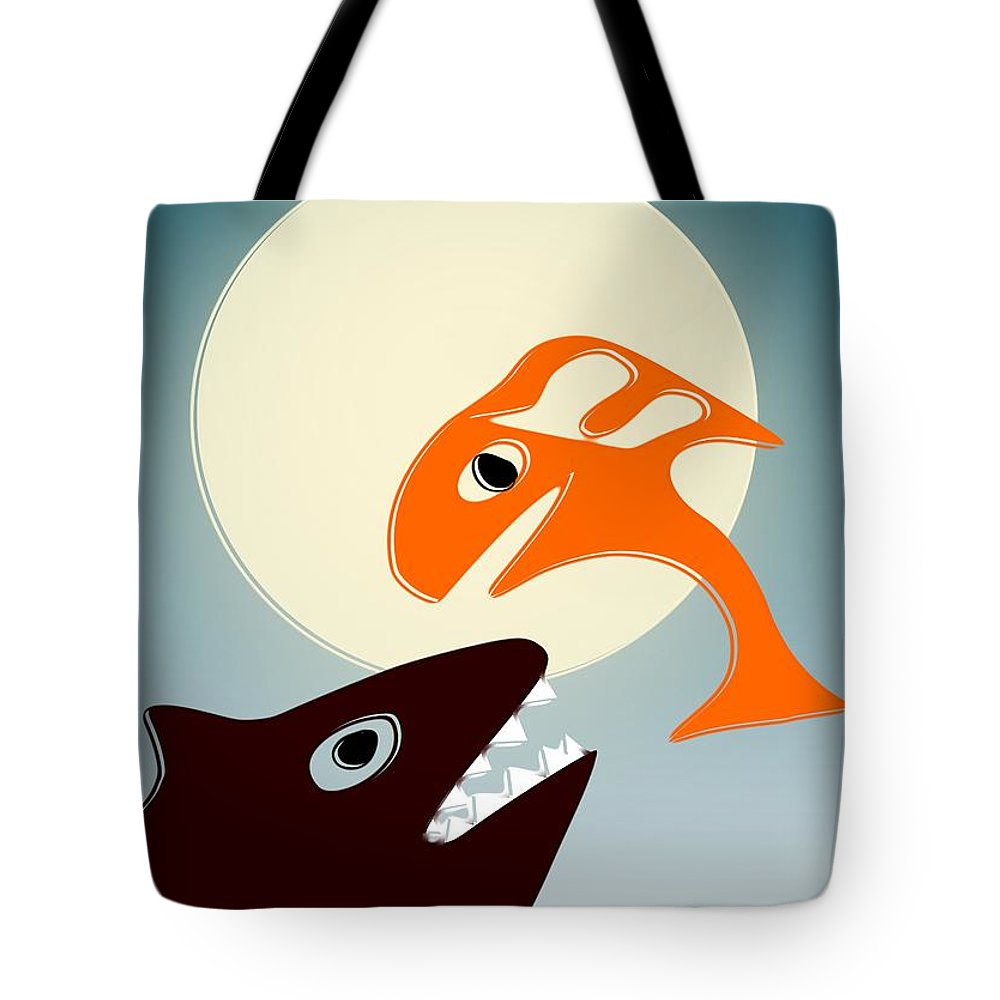 Bear Tote Bag featuring the digital art Magic Fish by Anastasiya Malakhova
