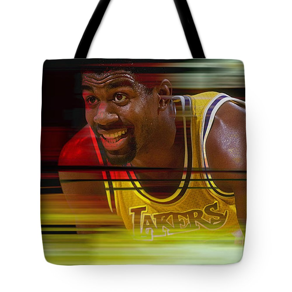 Magic Johnson Paintings Tote Bag featuring the mixed media Magic Johnson by Marvin Blaine