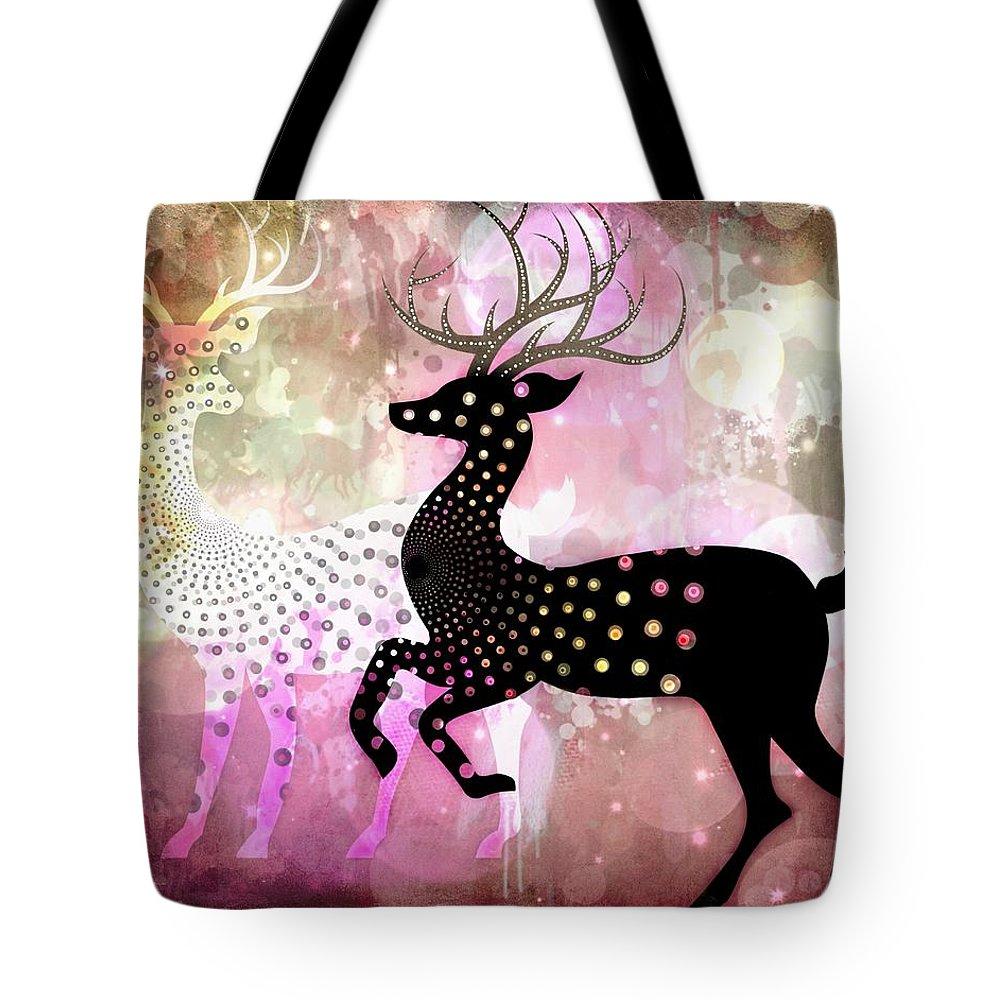 Reindeers Tote Bag featuring the digital art Magical Reindeers by Barbara Orenya