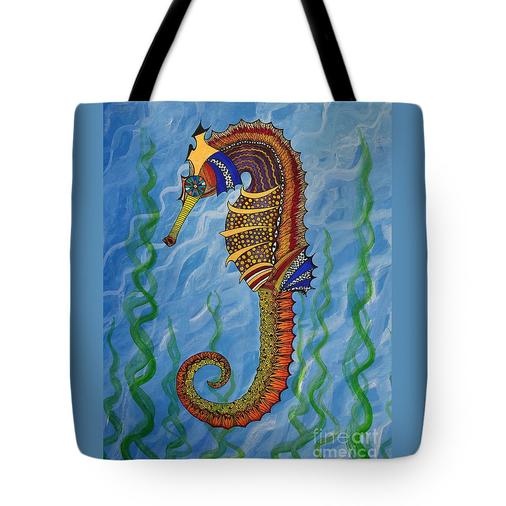 Seahorse Tote Bag featuring the painting Magical Seahorse by Suzette Kallen