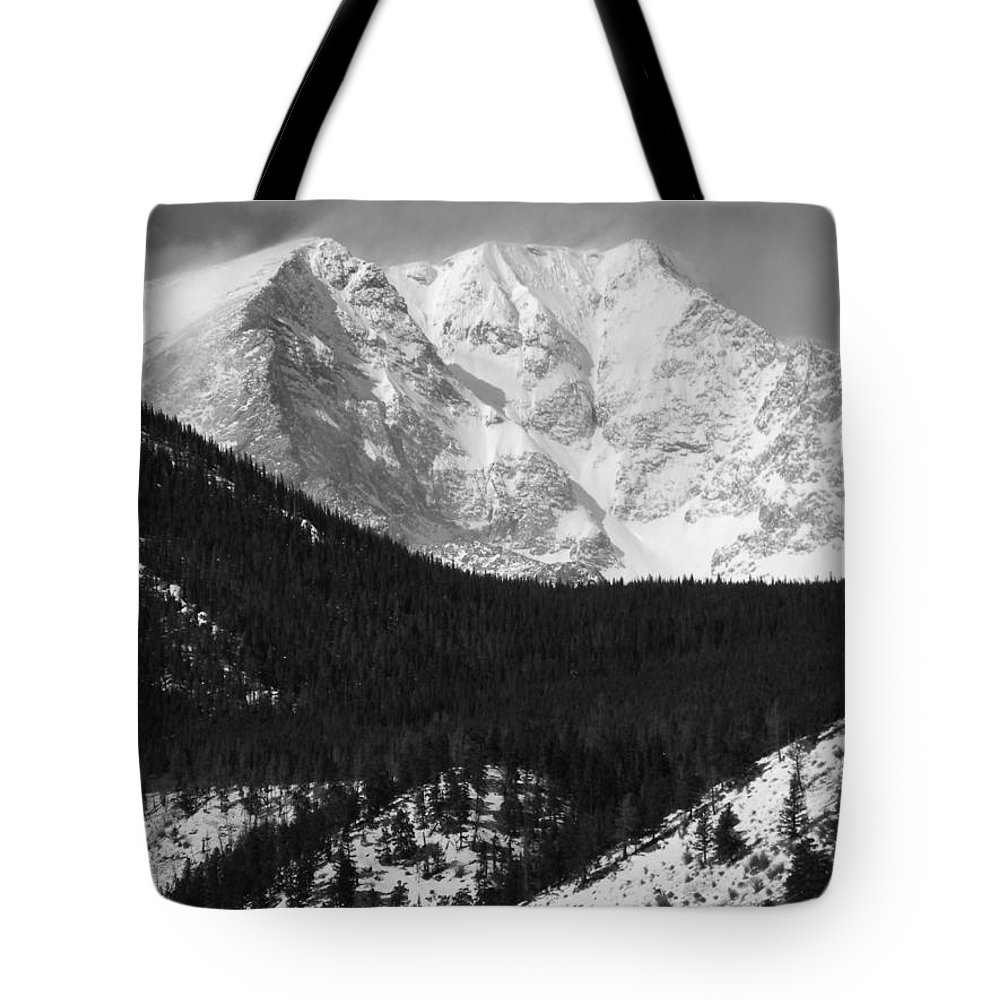 Black And White Tote Bag featuring the photograph Magnificent Mountain by Nicole Crabtree