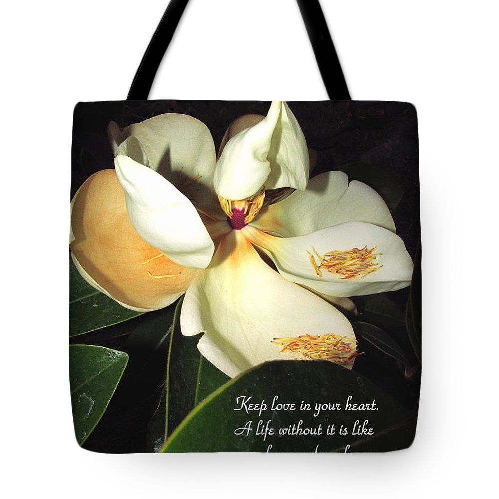 Magnolia Tote Bag featuring the photograph Magnolia Blossom In All Its Glory - Keep Love In Your Heart by Joyce Dickens