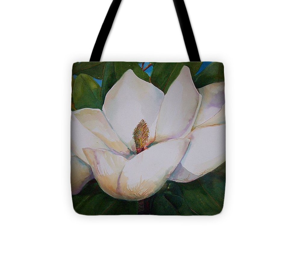 Magnolia Flower Tote Bag featuring the painting Magnolia Blossom by Sue Kemp