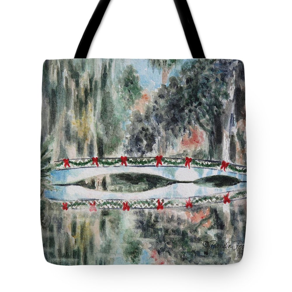 Christmas Tote Bag featuring the painting Magnolia Christmas by Pamela Poole