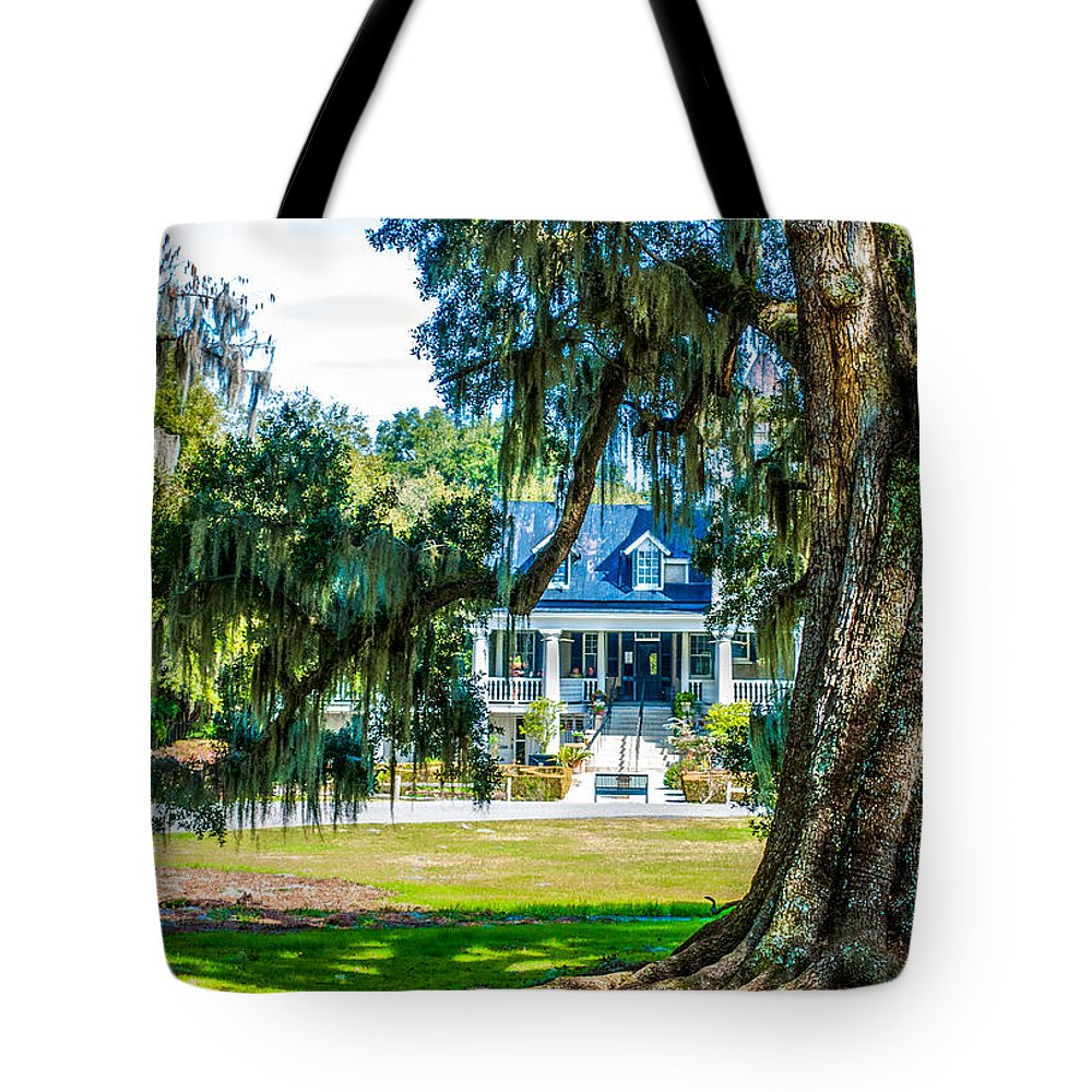 Magnolia Mansion Tote Bag featuring the photograph Magnolia Mansion by Optical Playground By MP Ray