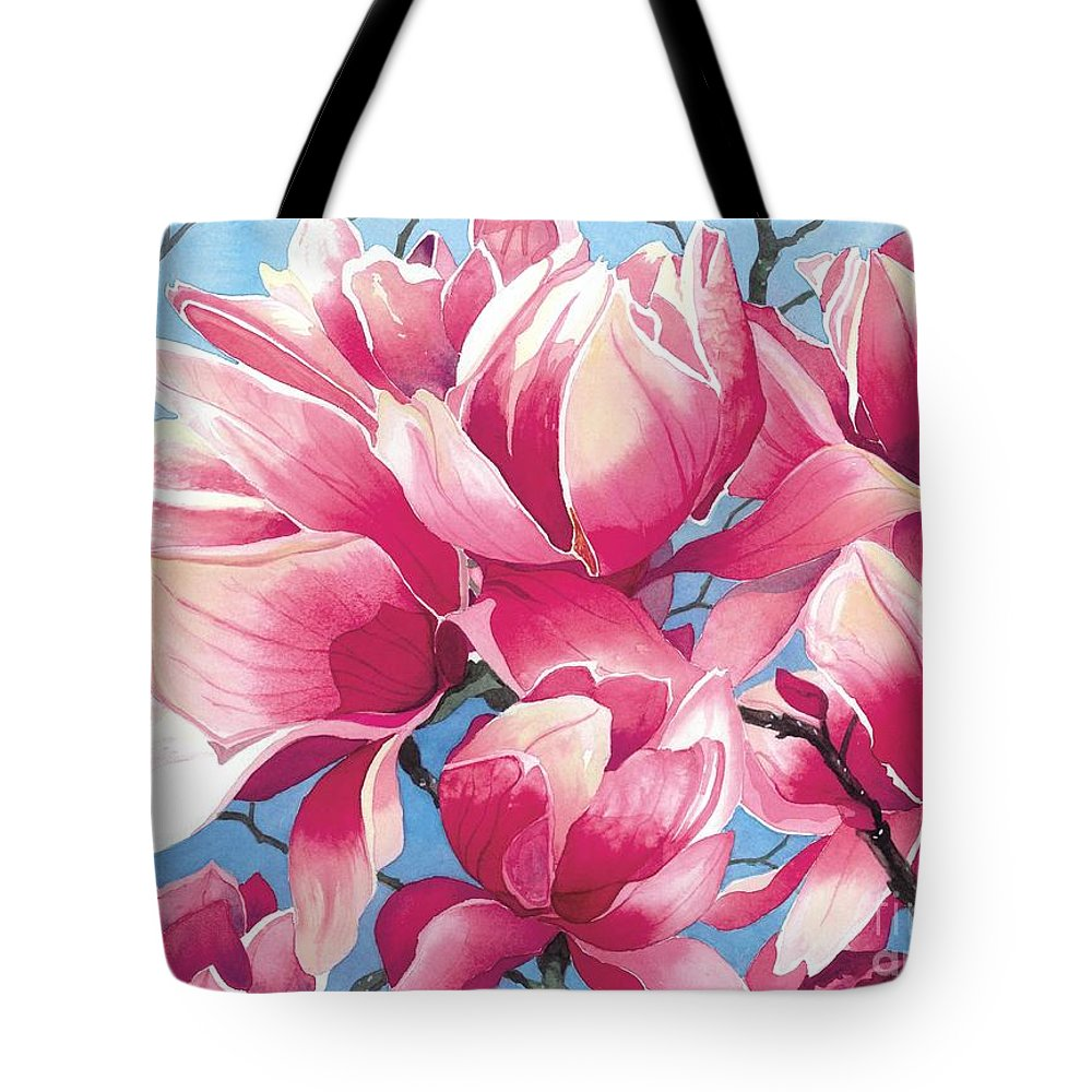 Flower Tote Bag featuring the painting Magnolia Medley by Barbara Jewell