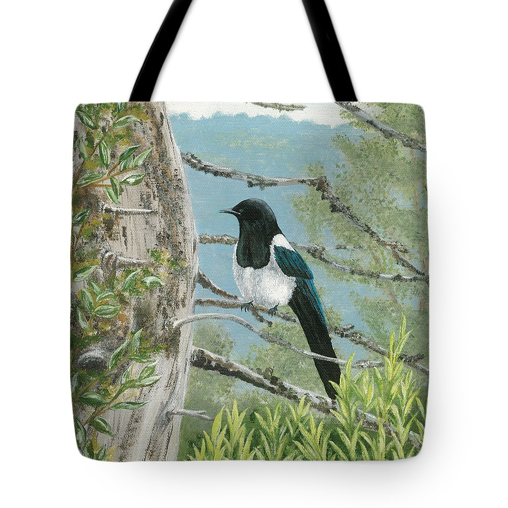 Magpie Tote Bag featuring the painting Magpie In Alaska by Lucinda V VanVleck