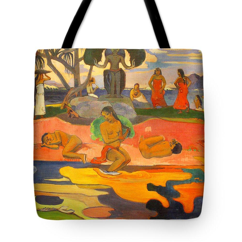 Paul Gauguin Tote Bag featuring the painting Mahana No Atua Aka. Day Of The Gods by Paul Gauguin